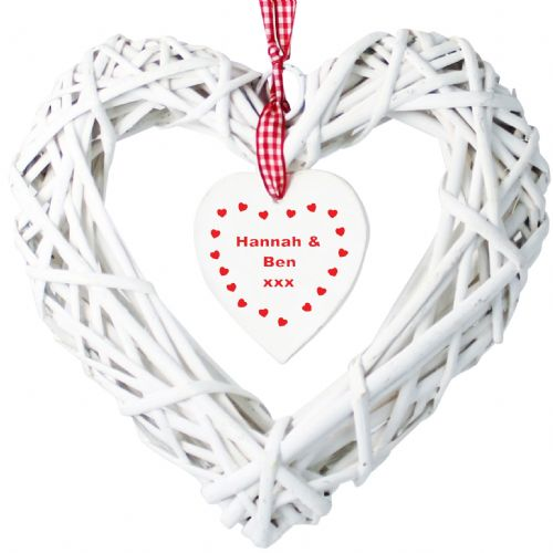 Personalised Wooden Wicker Heart With Inner Hanging Heart Design